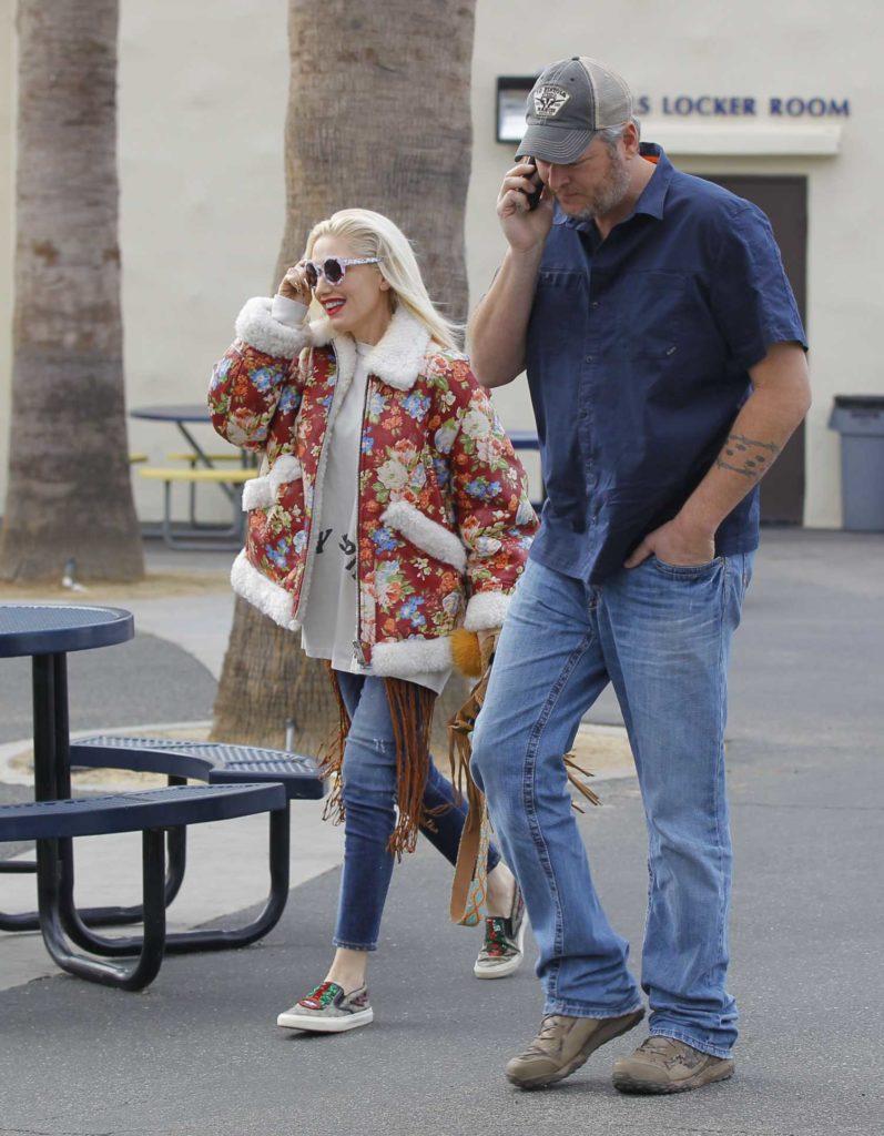 Gwen Stefani in a Floral Print Sheepskin Jacket