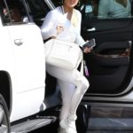 Jennifer Lopez in a Silver Leggings Arrives at a Gym in Miami