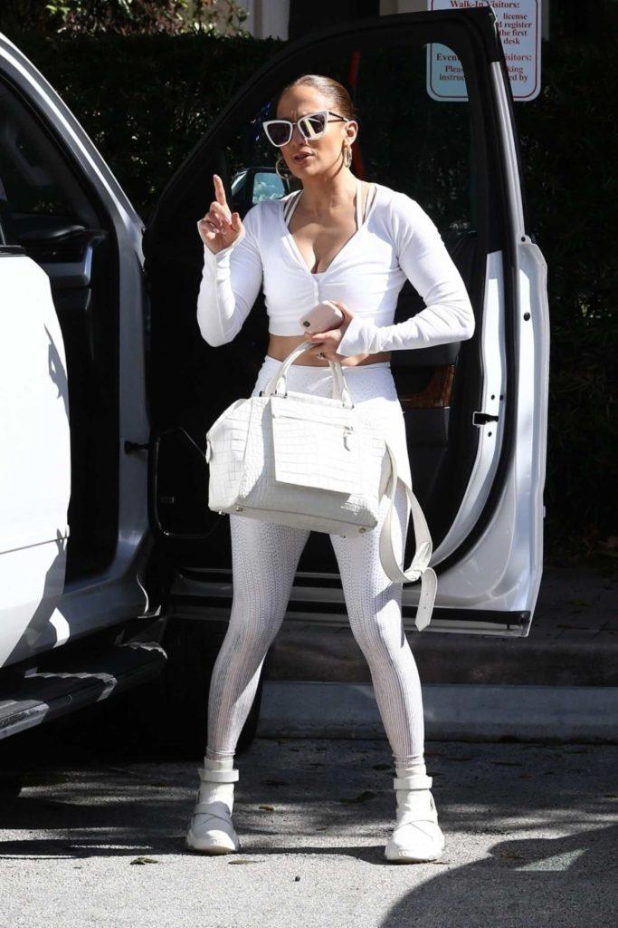 Jennifer Lopez in a Silver Leggings