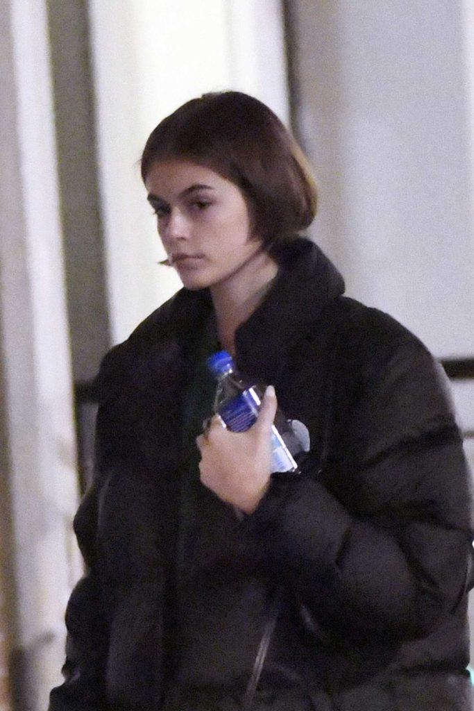 Kaia Gerber in a Black Puffer Jacket