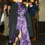 Kate Hudson in a Purple Dress Leaves Her Hotel in New York City