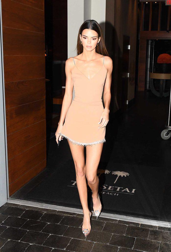 Kendall Jenner in a Short Beige Dress