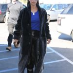 Kim Kardashian in a Black Fur Coat Out for Lunch in Calabasas