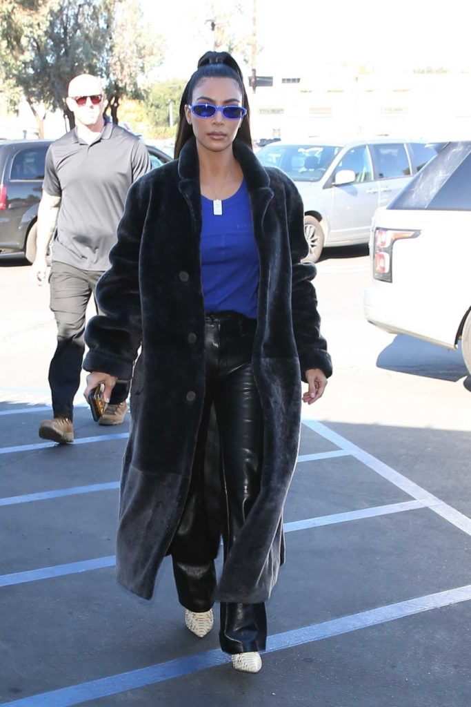 Kim Kardashian in a Black Fur Coat