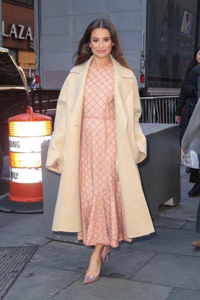 Lea Michele in a Beige Coat