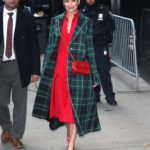 Lea Michele in a Green Plaid Coat Leaves Good Morning America in New York