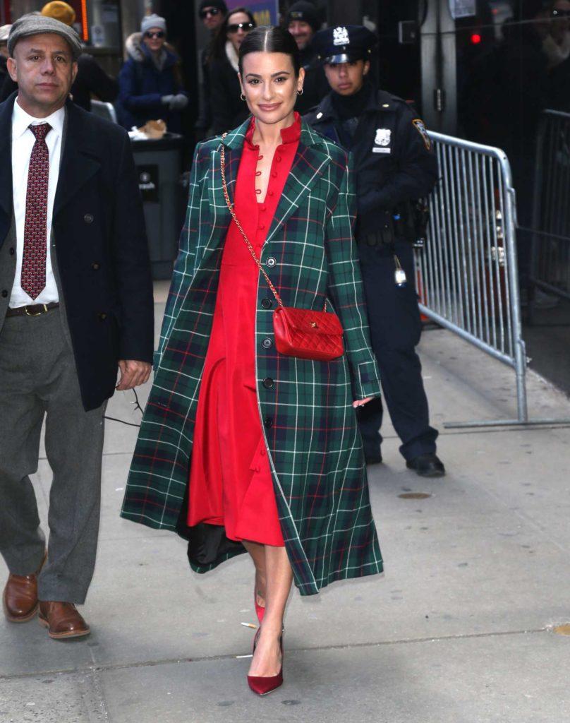 Lea Michele in a Green Plaid Coat
