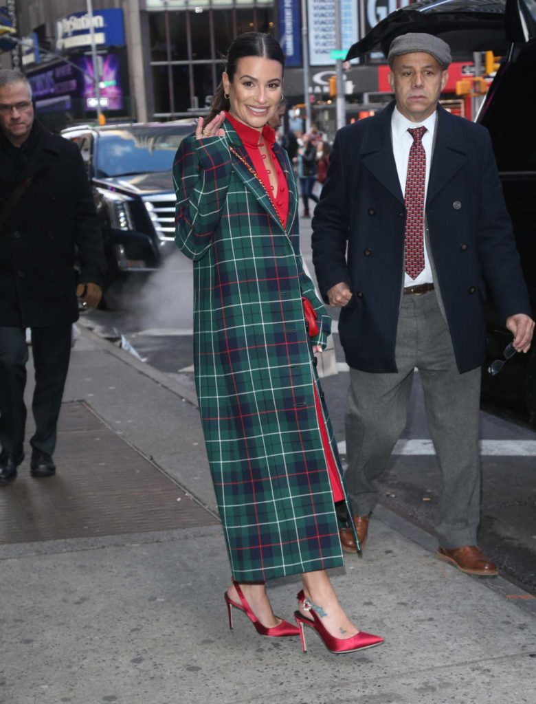 Lea Michele in a Green Plaid Coat