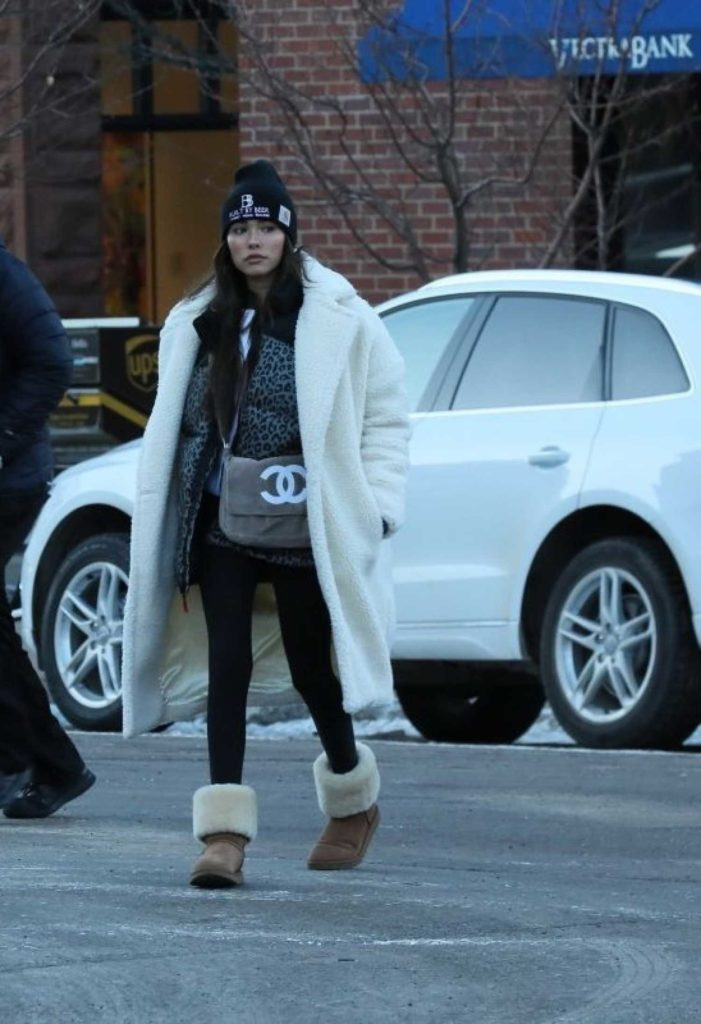 Madison Beer in a White Fur Coat