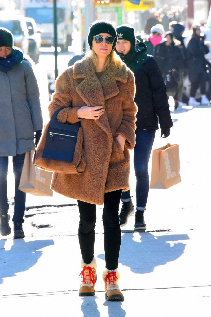 Nicky Hilton in a Black Knit Hat