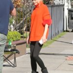 Nicole Kidman in an Orange Turtleneck on the Set of The Prom in Los Angeles