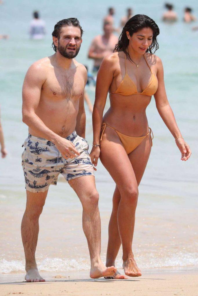 Pia Miller in a Beige Bikini