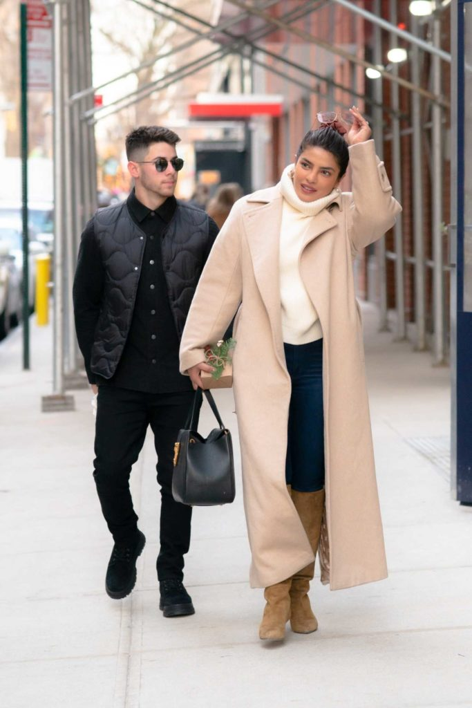 Priyanka Chopra in a Beige Coat