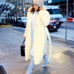 Priyanka Chopra in a White Fur Coat Arrives at Her Hotel in New York City