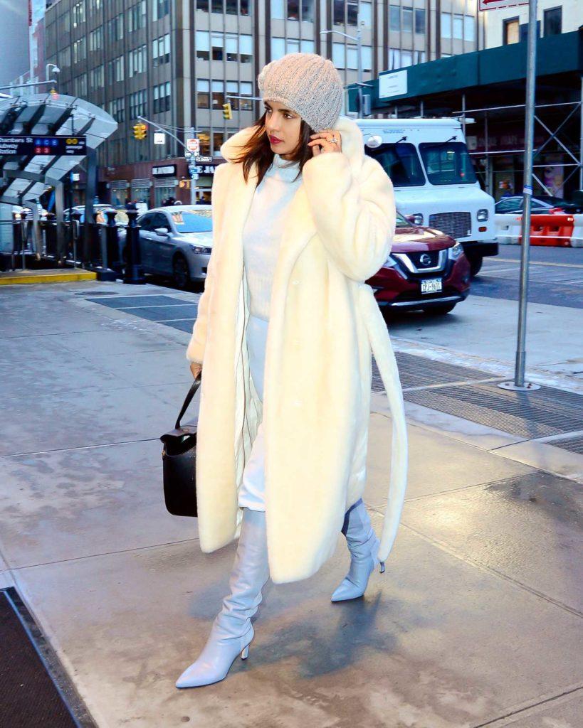 Priyanka Chopra in a White Fur Coat