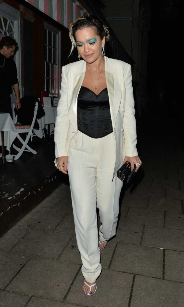 Rita Ora in a White Suit