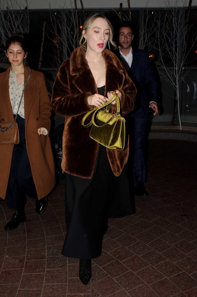 Saoirse Ronan in a Brown Fur Coat