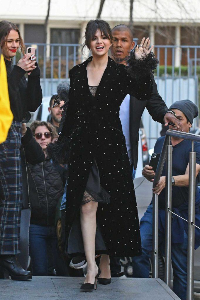 Selena Gomez in a Black Polka Dot Coat