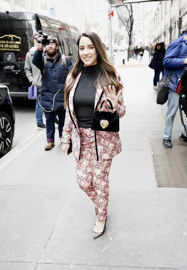 Aly Raisman in a Floral Print Suit