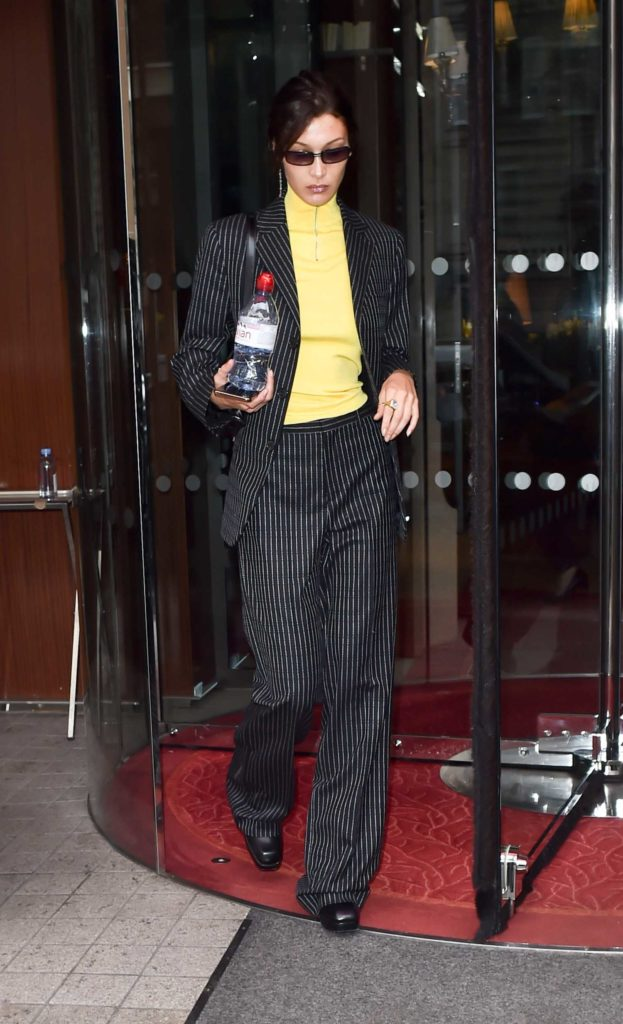 Bella Hadid in a Black Striped Suit