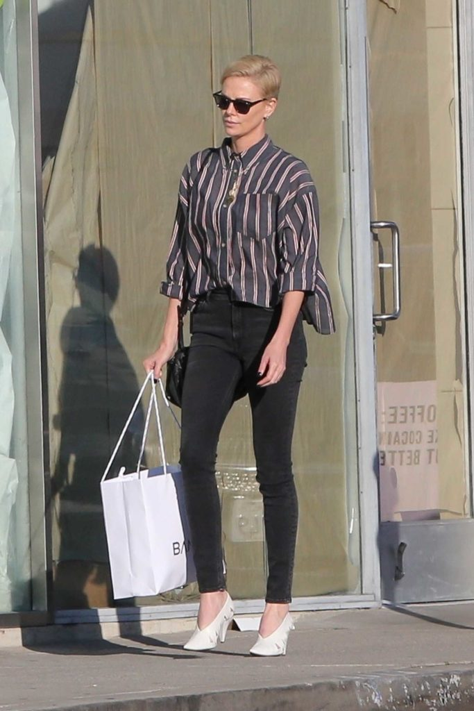 Charlize Theron in a Striped Shirt