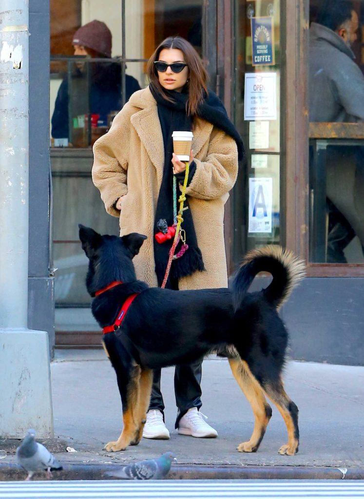 Emily Ratajkowski in a Beige Fur Coat