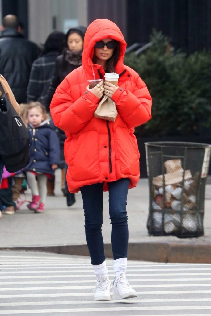 Emily Ratajkowski in a Red Puffer Jacket