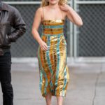 Florence Pugh in a Striped Gold Dress Arrives at the Jimmy Kimmel Live in Los Angeles