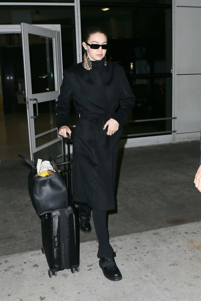 Gigi Hadid in a Black Coat