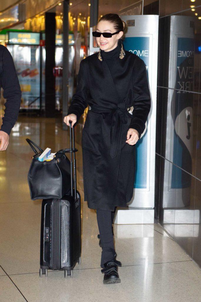 Gigi Hadid in a Black Coat