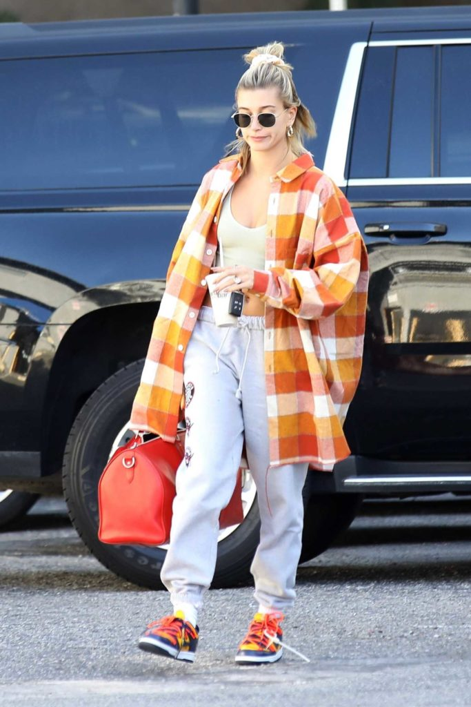 Hailey Bieber in a Plaid Oversized Shirt