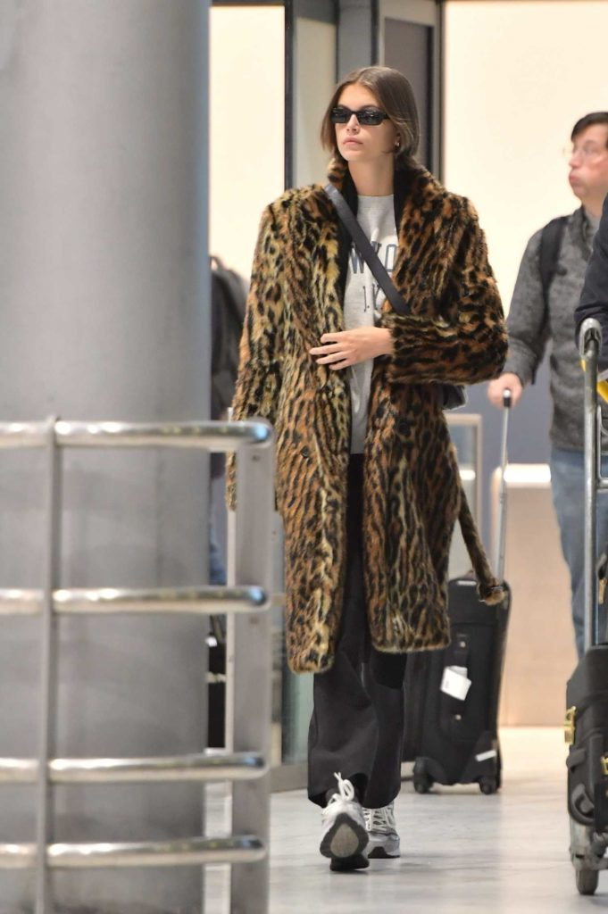 Kaia Gerber in a Leopard Print Fur Coat