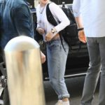 Kristen Stewart in a White Cap Arrives at LAX Airport in Los Angeles