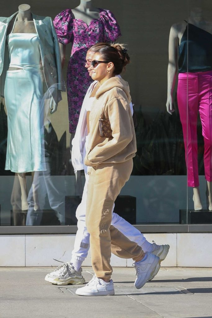 Madison Beer in a Beige Sweatsuit