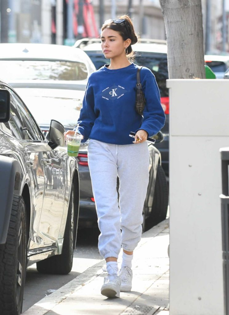 Madison Beer in a Blue Sweatshirt