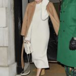 Margot Robbie in a Beige Coat Leaves Annabel's Member's Club in Mayfair, London