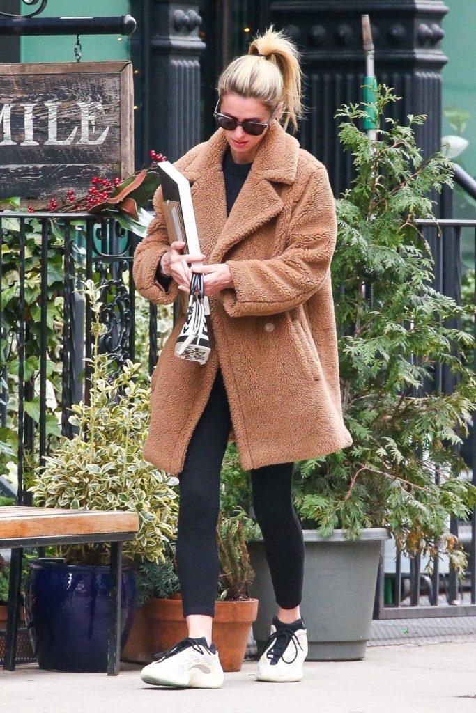 Nicky Hilton in a Beige Coat