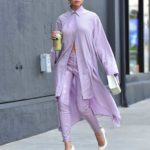 Olivia Culpo in a Purple Suit Leaves a Meeting in Santa Monica