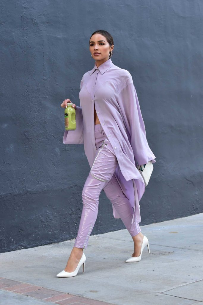 Olivia Culpo in a Purple Suit