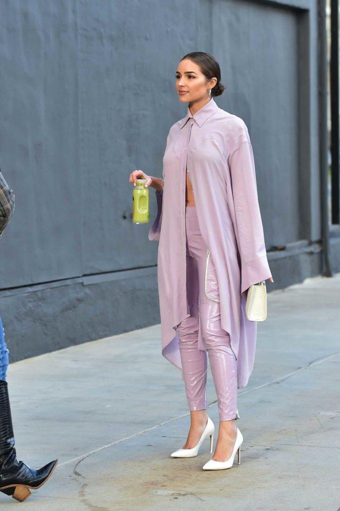 Olivia Culpo in a Purple Suit