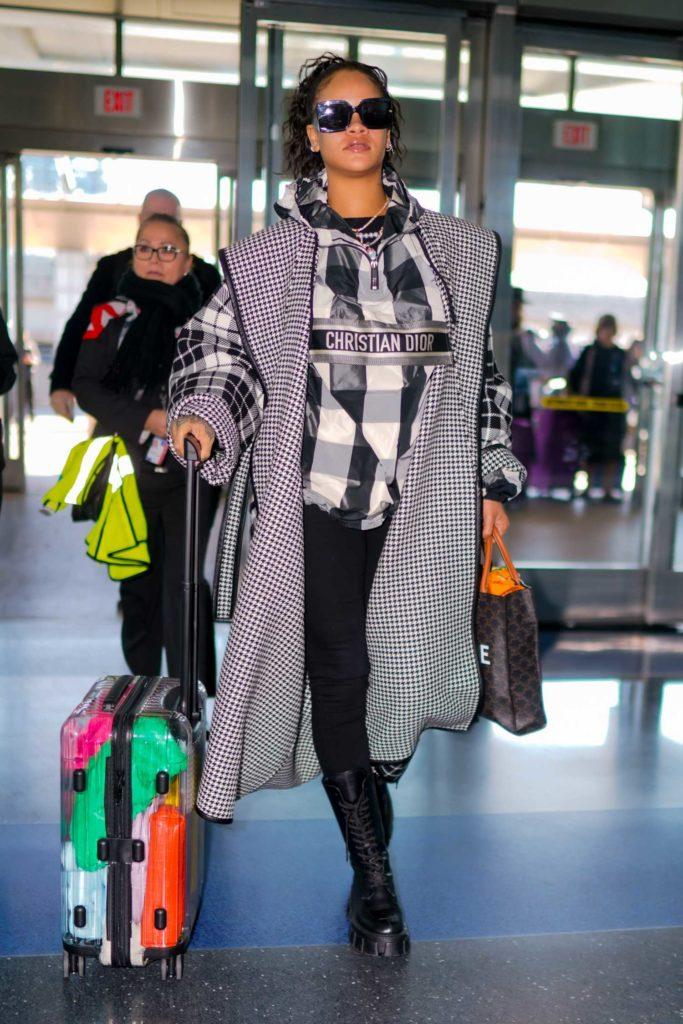 Rihanna in a Plaid Coat
