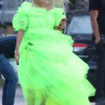 Rita Ora in a Neon Green Dress Shooting a Deichmann Collection Ad in Miami