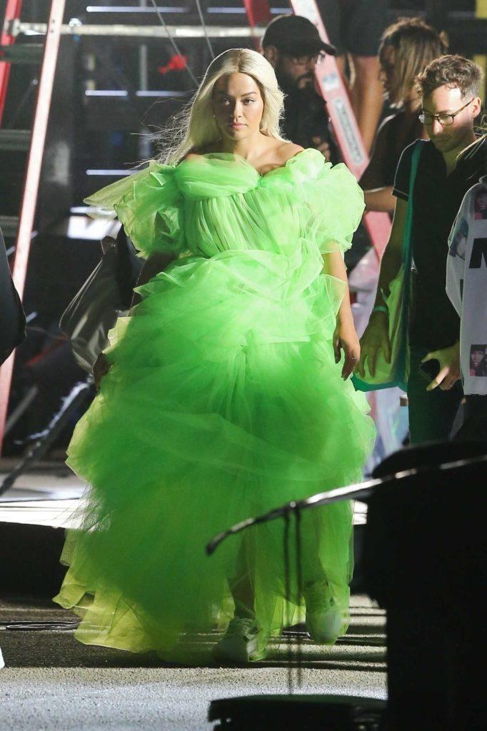 Rita Ora in a Neon Green Dress