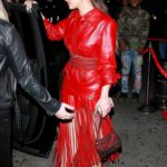 Rosalia in a Red Suit Arrives to Lizzo's Grammy After Party in Los Angeles