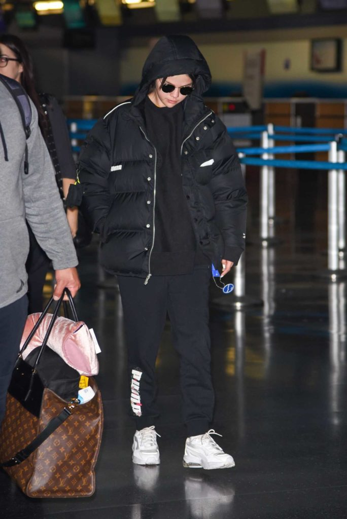 Selena Gomez in a Black Puffer Jacket