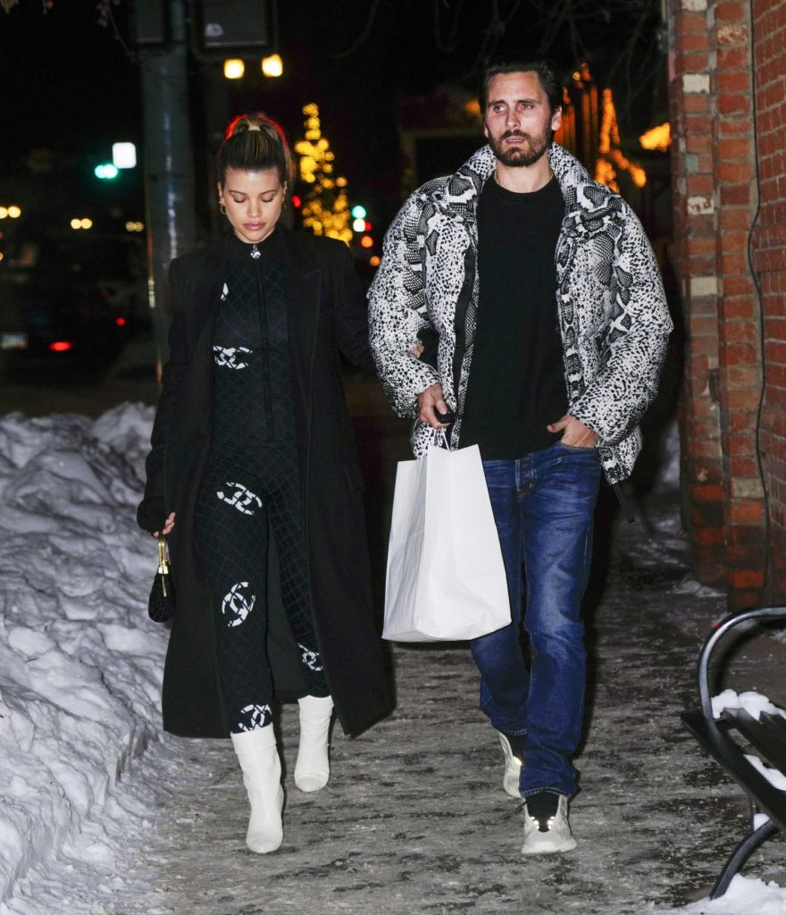 Sofia Richie in a Black Coat