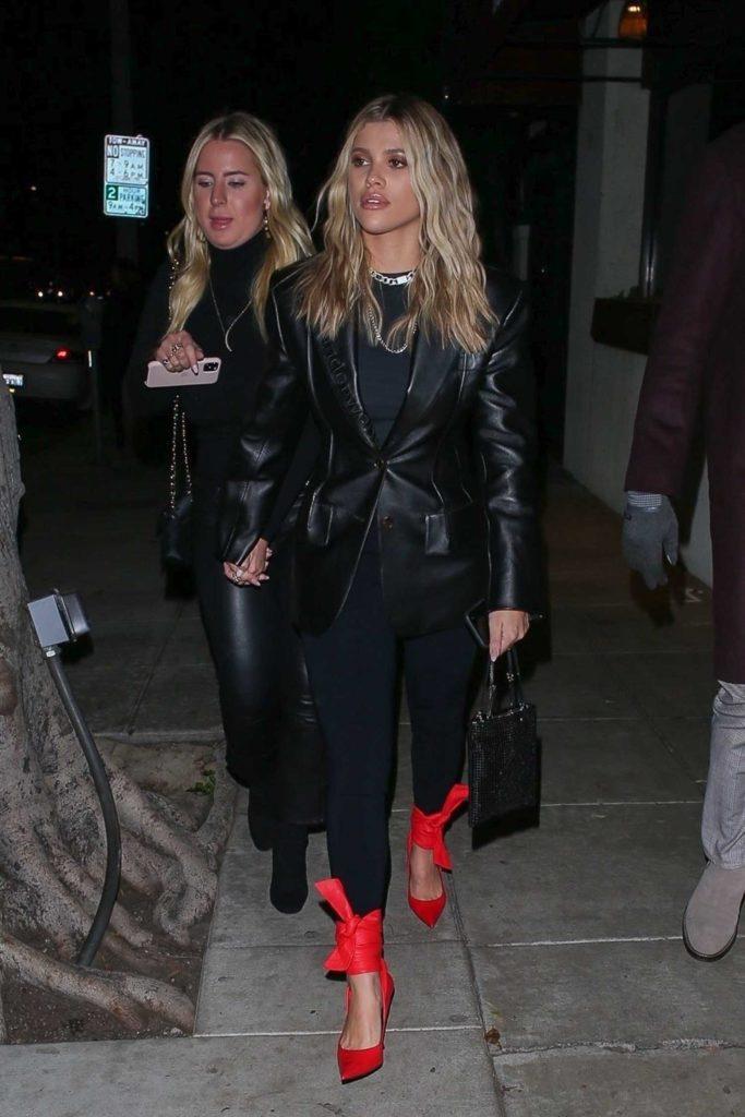 Sofia Richie in a Black Leather Blazer