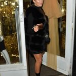 Yazmin Oukhellou in a Short Black Dress Leaves Her Y.A.Z Store in Essex