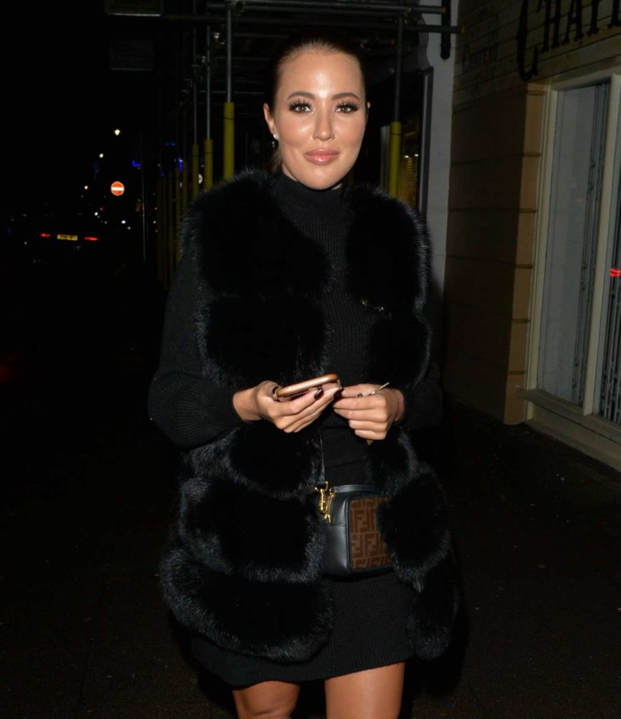 Yazmin Oukhellou in a Short Black Dress
