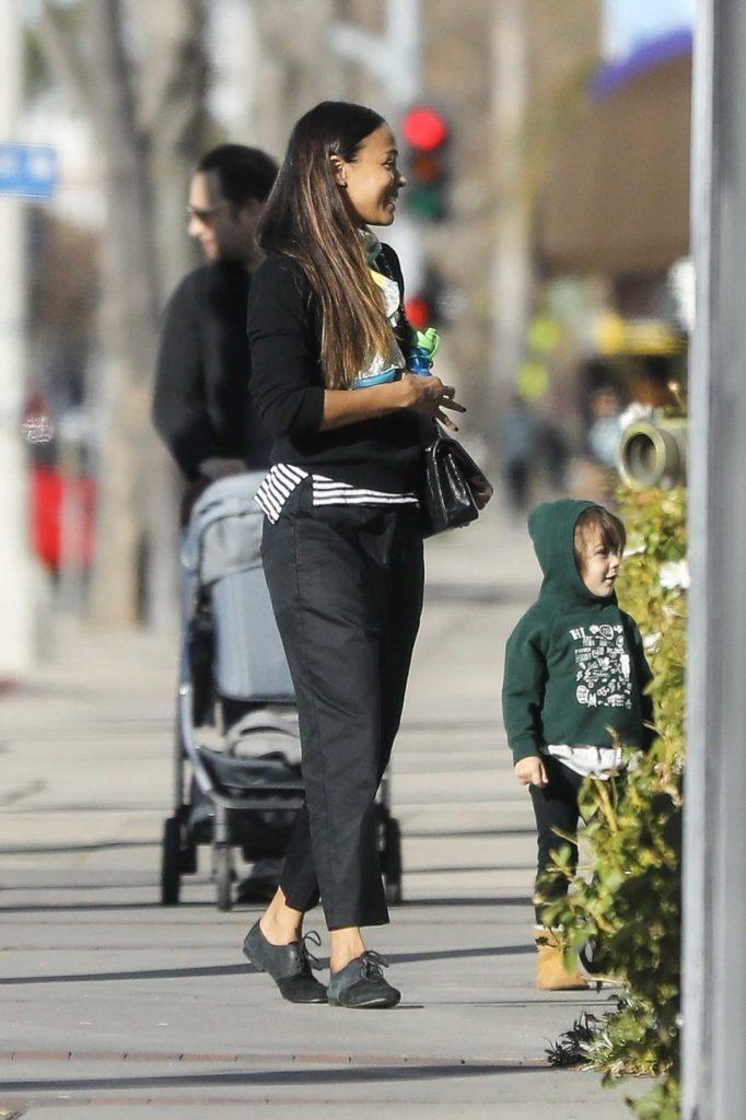 Zoe Saldana in a Black Outfit